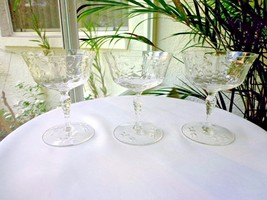 Set of 3 Rock Sharpe #2013 Floral Cutting Clear Champagne Glasses - $32.66
