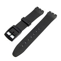 Black & Black Buckle Resin Watch Strap Band to fit Standard Swatch Watch 17mm  - $9.95