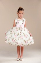 Posh Sweet Ivory Floral Embroidered Flower Girl Party Dress, Crayon Kids... - $62.99