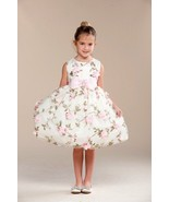 Posh Sweet Ivory Floral Embroidered Flower Girl... - $62.99