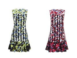 NWT Peter Pilotto Crepe Sheath Flouncy Dress Fluted Hem - Floral Stripes - $24.97