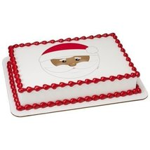 "4"" Round Be Jolly Santa PhotoCake Image (African American) Edible Frosting Cake  - $10.50"