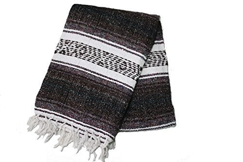 Hand Woven Acrylic Mexican Blanket (Brown)