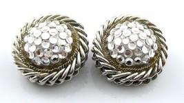 Big Vintage 1980s 90s Showstopper Silvertone & Rhinestones Clip-On Earrings - $45.58