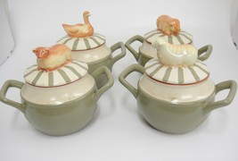 Nikko Country Market 4 Soup Server Bowl w Animal Lid Handled Covered Pot... - $34.64