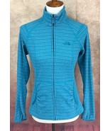 North Face Fitted Full Zip Mock Neck Pockets Fleece Logo Blue Jacket Wom... - $28.70