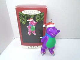 Vintage Hallmark Keepsake 1994 Barney On Ice Skates Christmas Ornament - $18.69