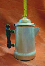 "Antique 1920'S Viko Aluminum Coffee Pot W/ Wooden Handle 6"" Tall image 6"