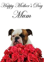 Bulldog roses A5 Mother's Day Greeting Card Mother mom Coderose - $4.26