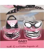 Baby Girl Pink Zebra Tooth and Curl Keepsake Gift Set - $29.39