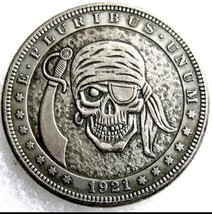 Rare New Hobo Nickel 1921 Morgan Dollar Skull Skeleton Pirate Coin Casted - $11.99