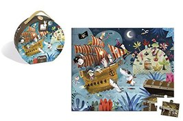 Janod 36 Piece Pirate Ship Treasure Hunt Puzzle Toy – Mini Suitcase Styled Box f image 1