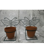 2 Terra Cotta Pots With Green Metal Butterfly Hanger - $21.77