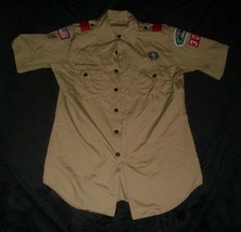 Vintage Men's Boy Scouts Of America Illinois Uniform Shirt W/ Patch Retro Medium - $64.52