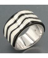 Gems TV Sterling Silver Wide Band Ring with Black & White Enamel Wavy Li... - $14.95