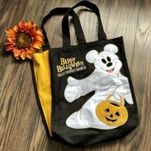 Walt Disney World Happy Halloween Mickey Mouse Ghost Canvas Tote Candy Bag - $15.83