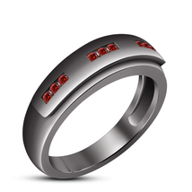 Women's Red Garnet Wedding Band Ring 14k Black Gold Plated 925 Sterling Silver - $84.99