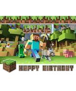 Minecraft Happy Birthday Steve Wolf Creeper Edible Cake Topper Image C01... - $9.99