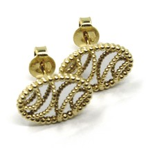18K YELLOW WHITE GOLD BOTTON OVAL EARRINGS 14 MM, DOUBLE LAYER WORKED MIRROR image 2
