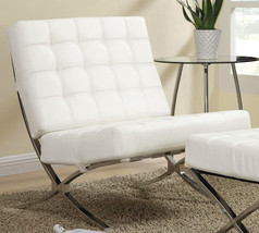 Classic designed white waffle tufted leatherette upholstered accent chair - $276.21