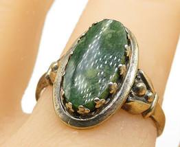 925 Sterling Silver - Vintage Green Jasper Adjustable Cocktail Ring Sz 8... - $25.32