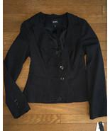 * XOXO Black Pinstripe Blazer Small Lined Long Sleeve Woman Two Button J... - $29.69