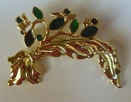 Swarovski Swan Logo Multi-color Enamel Feather Leaf Brooch - $60.00