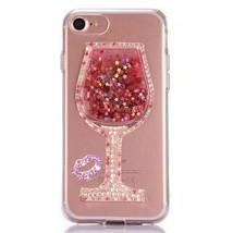 LG G5 Liquid Case,Handmade Sexy Lip Diamond Goblet Wine Glass Floating L... - $12.86