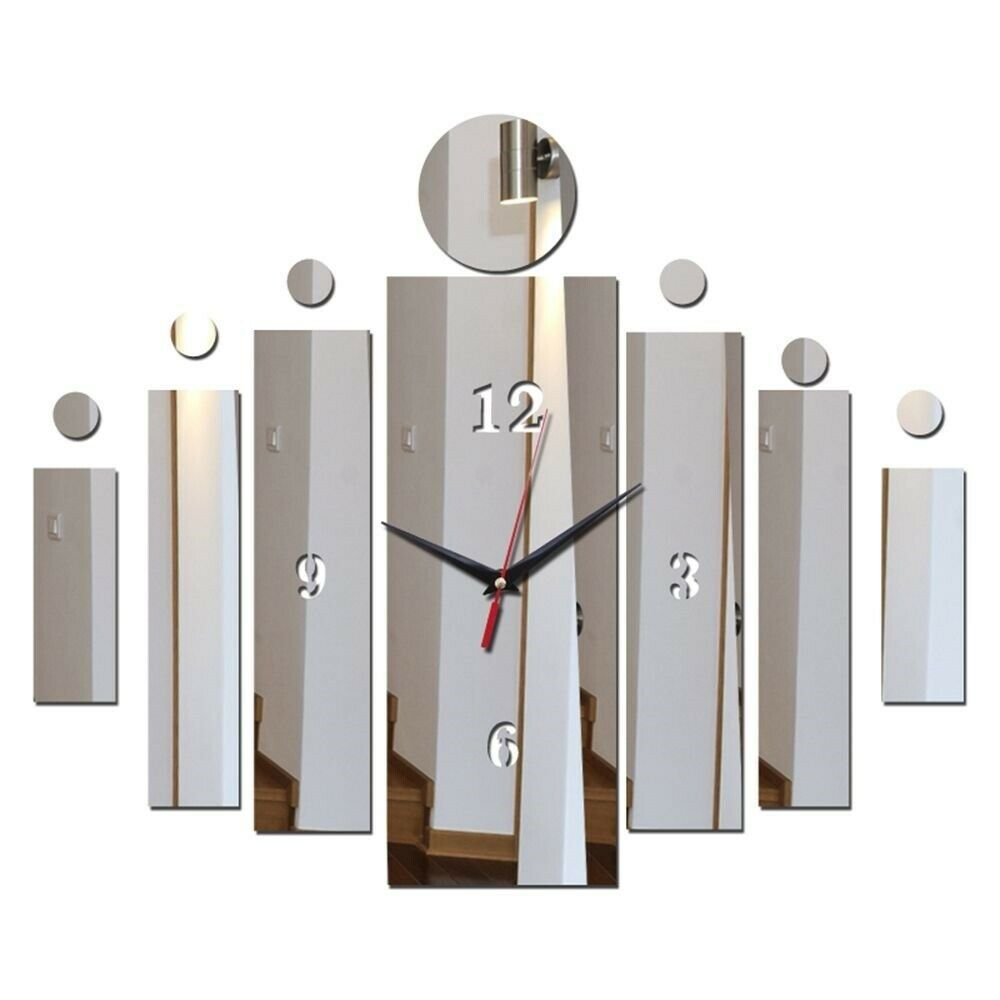 Primary image for Unique Mirror Surface Rectangle DIY Wall Clock Modern Acrylic Decor Stylish Gift
