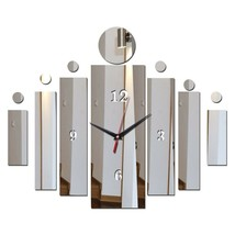 Unique Mirror Surface Rectangle DIY Wall Clock Modern Acrylic Decor Styl... - $16.79