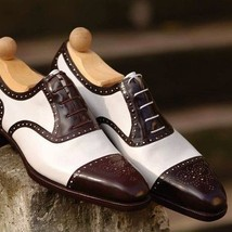 Handmade Men's Two Tone Brogue Style White And Brown Leather Oxford Shoes image 4