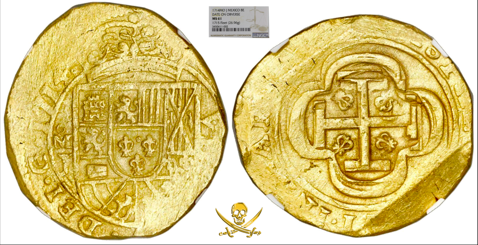 MEXICO 1714 DATED 8 ESCUDOS 1715 FLEET NGC 61 PIRATE GOLD COINS SHIPWRECK TREASR