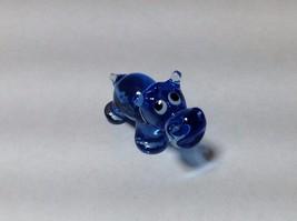 Miniature Glass cute blue hippo Handmade Blown Glass Made USA