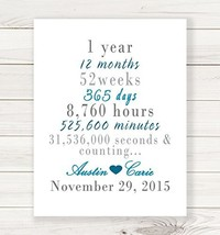 1 Year, 12 Months, 52 Weeks...and Counting - Fine Art Print for 1st Wedd... - $26.96