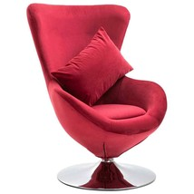 vidaXL Swivel Egg Chair with Cushion Red Velvet French Sofa Chair Armchair - $204.99