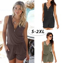 Beach Casual V-neck Fashion Sleeveless Zipper Slim Woman's Jumpsuit Romp... - $27.54