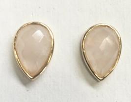 Daniela Swaebe 18K Gold-Plated Faceted Rose Quartz Drop Pear Shape Post Earrings image 1