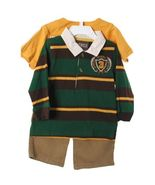 Handsome Green Gold Striped Polo Shirt, Gold Tee, Boys Cargo Pants, Foot... - $28.99