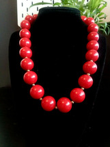 Women's Fashion Cherry Red and Silver Tone large Beaded Necklace - $15.99