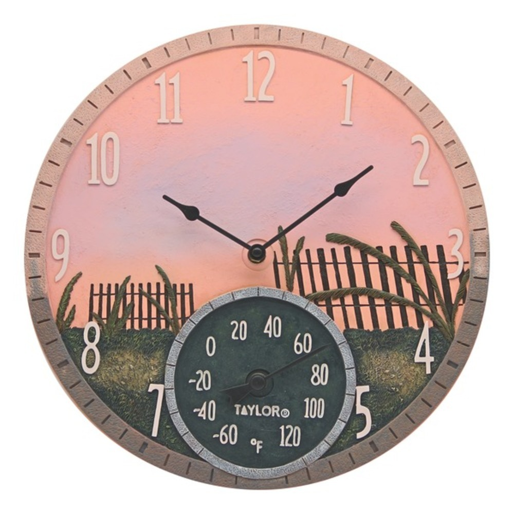 Primary image for Taylor Precision Products 92688T 14-Inch Sea Oats Clock with Thermometer