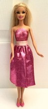 BARBIE BLONDE Doll Always Dressed Glittery BERRY PINK Skirt Rooted Eyela... - $4.50