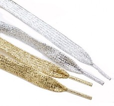 Rugjut 6 Pairs Gold And Silver Metallic Glitter Flat Shoelaces For Canva... - $25.28