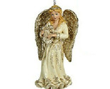 "KURT ADLER HAND PAINTED 5.25"" PLATINUM BLONDE ANGEL w/ HARP CHRISTMAS ORNAMENT"