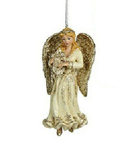 "Kurt Adler Hand Painted 5.25"" Platinum Blonde Angel w/ Harp Christmas Ornament - $12.88"