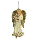 "KURT ADLER HAND PAINTED 5.25"" PLATINUM BLONDE ANGEL w/ HARP CHRISTMAS OR... - $12.88"