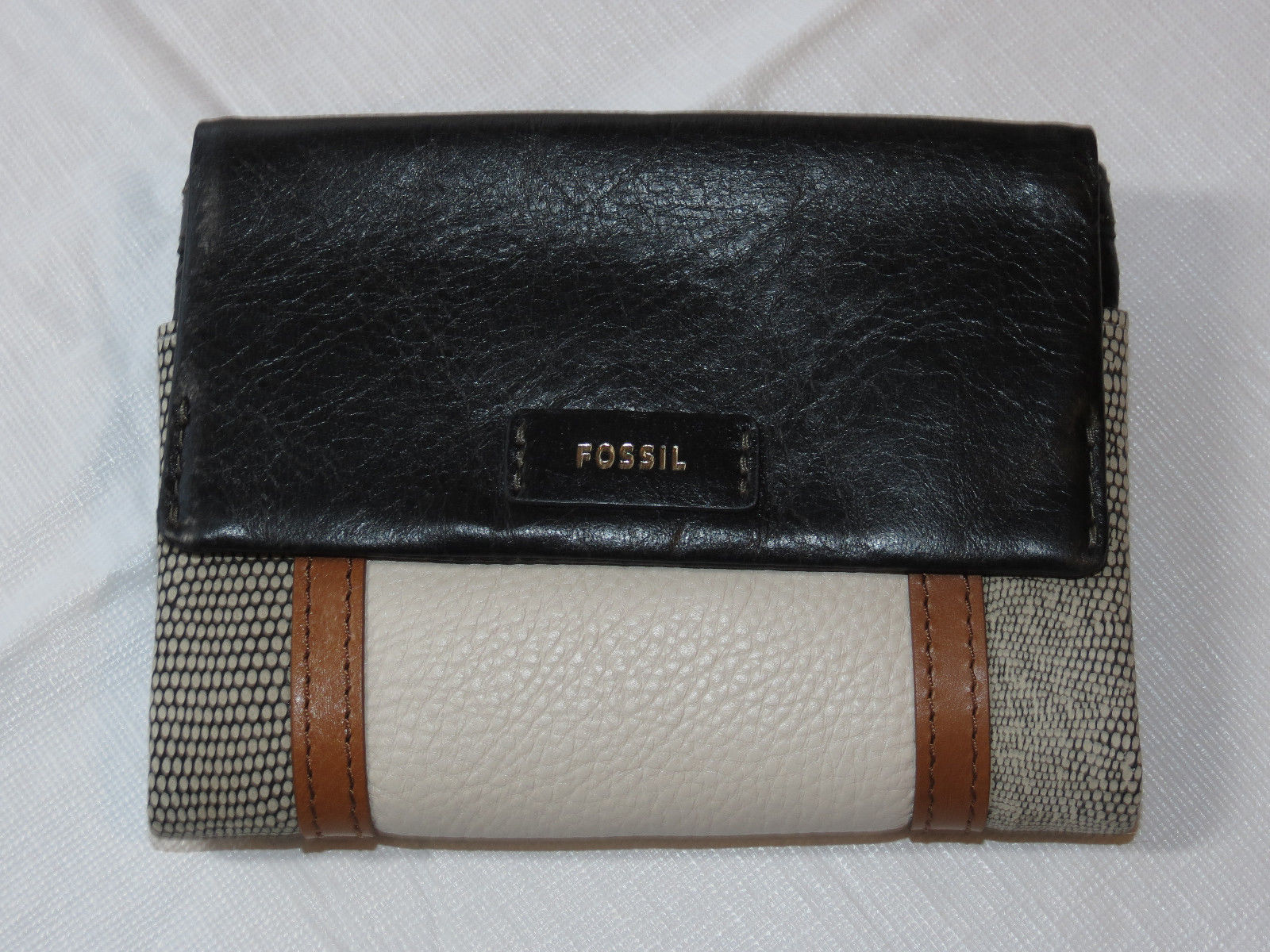 Fossil SL7468191 Ellis Multi Black Patchwork multifunction wallet leather NWT*^