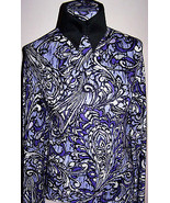 Violet Lavender and Purple Paisley Poly Knit Lycra Stretch Fabric 1 Yard... - $36.00