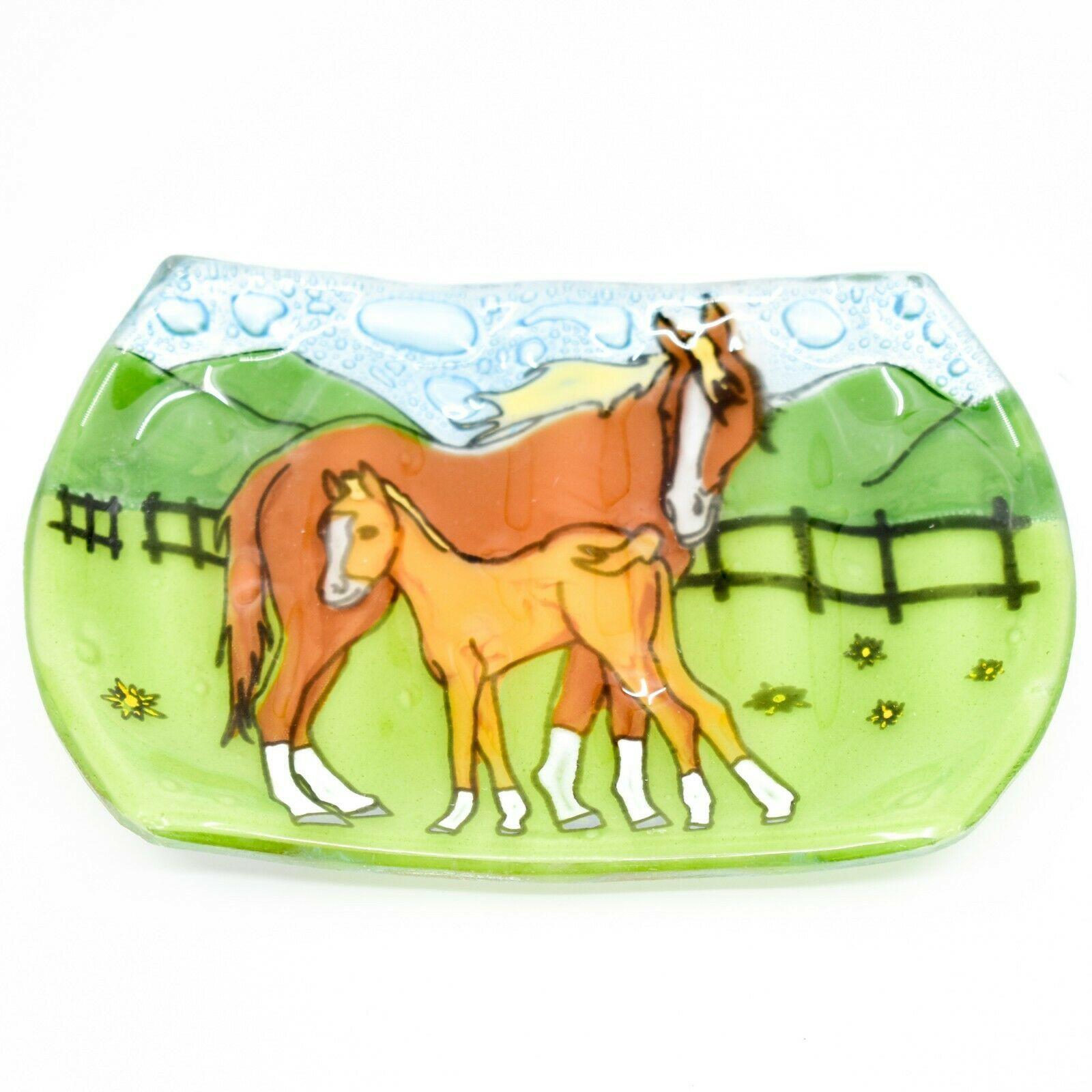 Fused Art Glass Mare & Foal Horse Farm Floral Design Soap Dish Handmade Ecuador