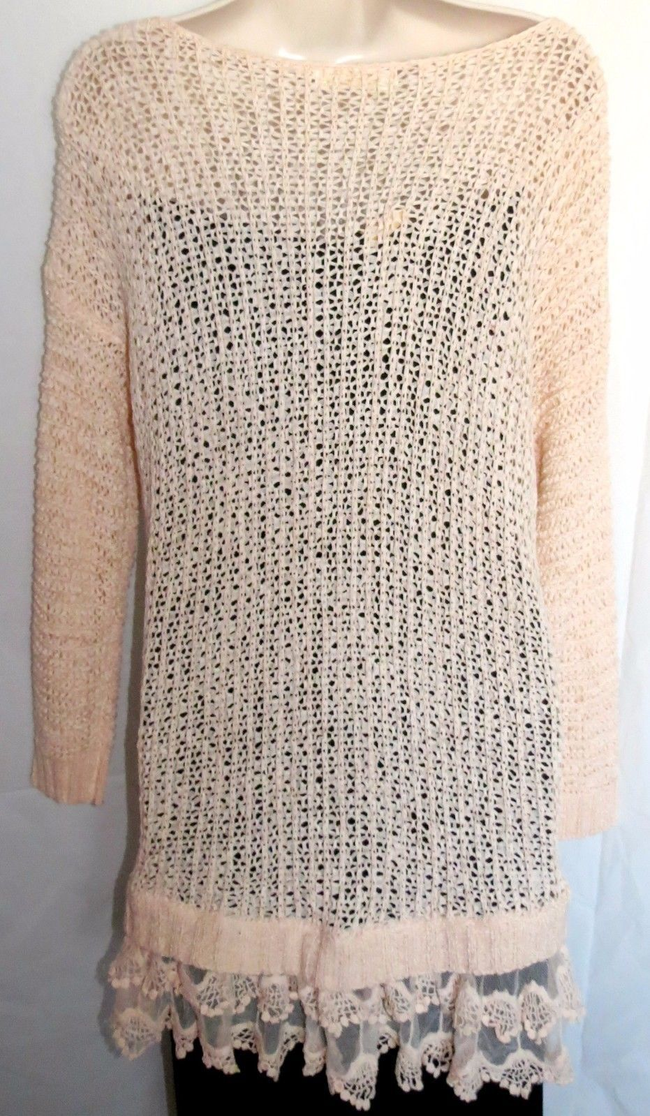 2d192f4e2f ENTRO Anthropologie Women s Pink Open Weave Lace Trim Tunic Long Sweater ~  Sz M