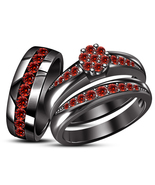 His & Her Wedding Anniversary Red Garnet Trio Ring Set Black Gold Fn 925... - £123.57 GBP